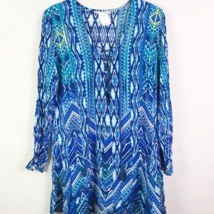 LA BLANCA Lace Up Long Sleeve Cover Up S
